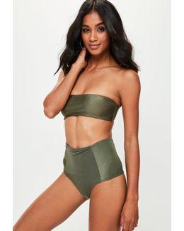 Khaki Bandeau Bikini Top - Mix & Match