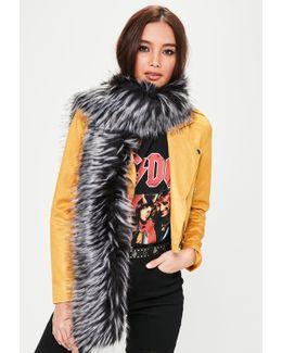 Grey Faux Fur Scarf