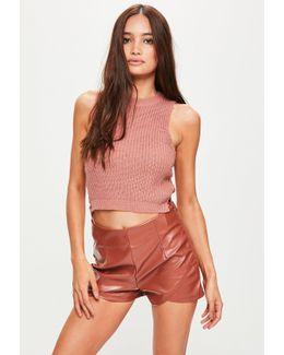 Brown Metallic Shorts