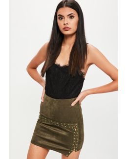 Khaki Lace Up Faux Suede Mini Skirt