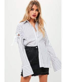 White Striped Tie Sleeve Shirt