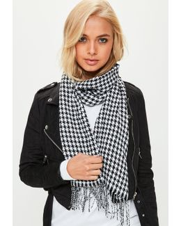 Black Houndstooth Long Scarf