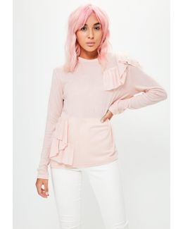 Pink Frill Long Sleeve Top