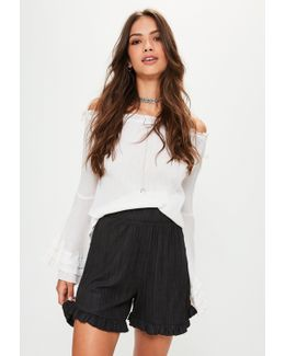 Black Pleated Faux Suede Frill Shorts