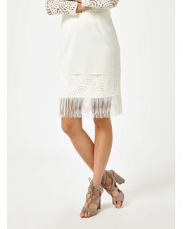 Premium White Lace Fringe Skirt