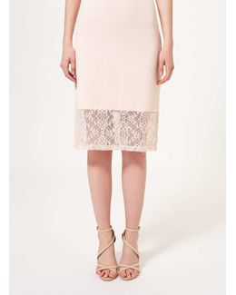 Premium Nude Lace Trim Pencil Skirt