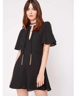 Black Angel Sleeve Playsuit