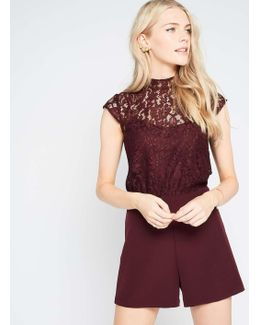 Burgundy Lace 2 In 1 Playsuit