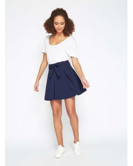 Navy Flippy Belted Skirt