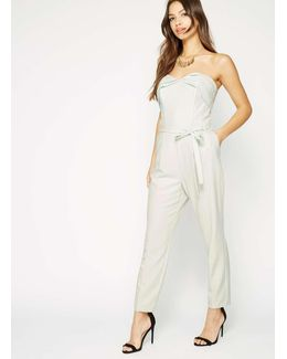 Mint Pleat Belt Jumpsuit
