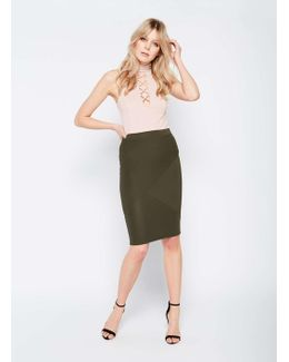 Khaki Cut About Pencil Skirt