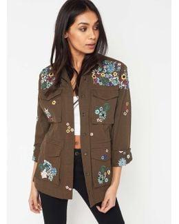 Premium Khaki Embroidered Military Jacket