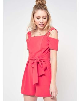 Petite Cold Shoulder Tie Playsuit