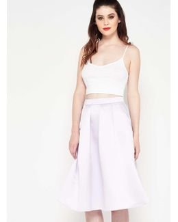 Lilac Co-ord Satin Midi Skirt