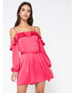 Pink Cold Shoulder Playsuit