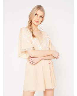 Peach Embroidered Playsuit