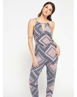 90's Neck Printed Jumpsuit