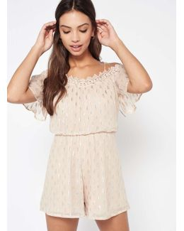 Nude Dobby Lurex Cold Shoulder Playsuit