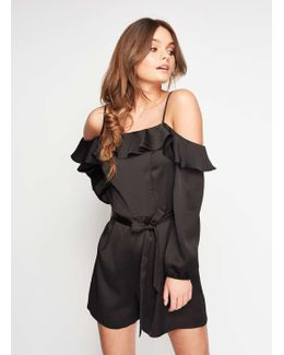 Black Cold Shoulder Playsuit