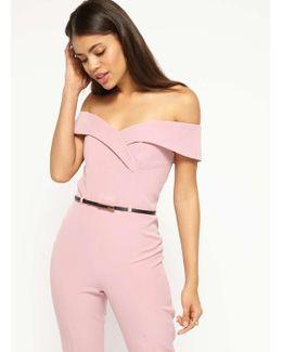 Dusty Pink Bardot Belt Jumpsuit