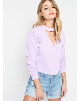 Petite Choker Neck Sweatshirt