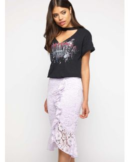 Lilac Lace Ruffle Pencil Skirt