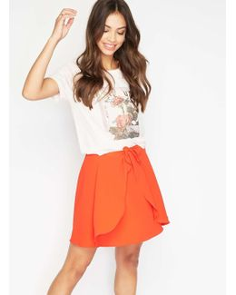 Red Tie Waist Mini Skirt