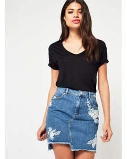 Embroidered Step Hem Denim Skirt