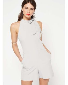 Grey Halter Neck Tie Playsuit