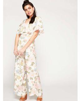Cream Floral Print Cape Jumpsuit