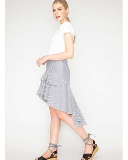 Striped High Low Hem Skirt