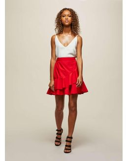 Red Poplin Ruffle Mini Skirt