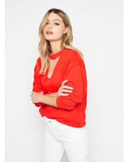 Red Choker Neck Sweatshirt
