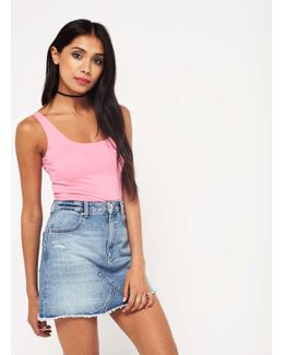 Bleach Wash Authentic Denim Skirt