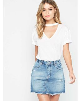 Petite Ripped Denim Mini Skirt