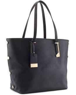 Black Side Stud Tote Bag