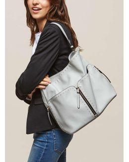 Grey Stud Hobo Bag