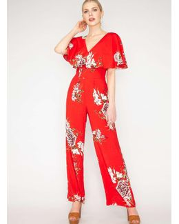 Red Floral Cape Jumpsuit