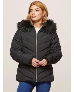 Black Faux Fur Hooded Puffer Jacket