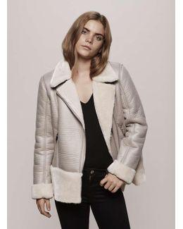 Grey Faux Fur Shearling Biker Jacket