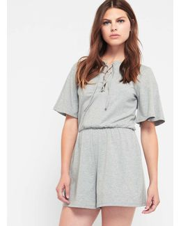 Grey Lace Up Eyelet Playsuit