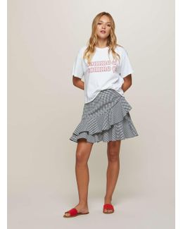 Black Gingham Ruffle Mini Skirt