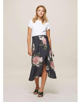Bloom Floral Print Wrap Midi Skirt