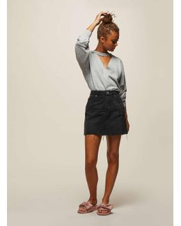 Black Seamed Denim Skirt