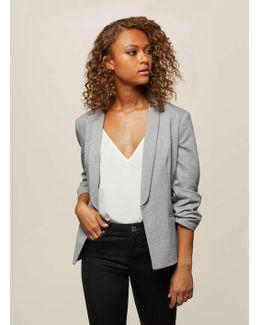 Grey Ruched Sleeve Ponte Blazer