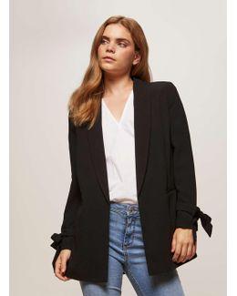 Black Bow Sleeve Blazer