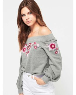 Grey Embroidered Bardot Sweatshirt