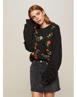 Black Embroidered Ruched Sweatshirt