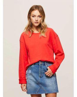 Red Crop Sweatshirt