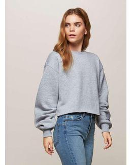 Grey Ruched Sleeve Crop Sweatshirt